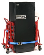 Model M-6 with standard phenolic wheels and optional side straps moving a safe